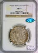 1936-S Rhode Island Commemorative Half Dollar NGC & CAC MS-66; Choice Original!