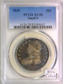 1830 Small O Bust Half Dollar PCGS AU-50; Nice Color!