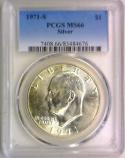 1971-S Silver Eisenhower Dollar PCGS MS-66
