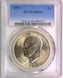 1971 Eisenhower Dollar PCGS MS-64