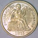 1875 Seated Liberty Dime AU-