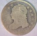 1821 Large Date Capped Bust Dime; JR-4; Honest Wear AG