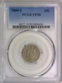 1860-S Seated Liberty Dime PCGS VF-30; Nice, Scarce!