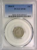 1864-S Seated Liberty Dime PCGS XF-40; Pleasing Silver Grey; Very Scarce!