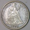 1891 Seated Liberty Dime AU