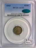 1843 Half Dime PCGS AU-53 With CAC; D.D.O., New?