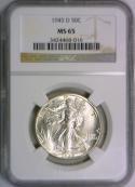1945-D Walking Liberty Half Dollar NGC MS-65