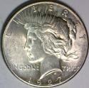 1927 Peace Dollar; AU-Unc; Choice Original