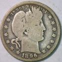 1896-O Barber Quarter; Choice Original G-VG