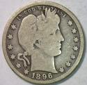 1896-O Barber Quarter; Nice Original VG