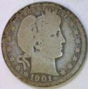 1901-O Barber Quarter; G; Scarce!