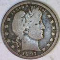 1897-O Barber Quarter; Original VG
