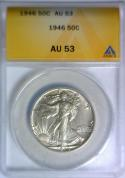 1946 Walking Liberty Half Dollar ANACS AU-53; Conservative Grade