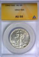 1942 Walking Liberty Half Dollar ANACS AU-55; Conservative Grade