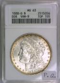 1888-O Morgan Dollar ANACS MS-63; DDR, VAM-9, Top 100; Premium Quality