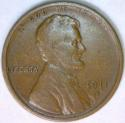 1911-S Lincoln Wheat Cent; F-VF