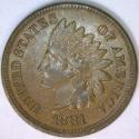 1881 Indian Head Cent; Lustrous Choice AU-Unc.