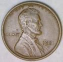 1921-S Lincoln Cent; Late Die State Reverse; XF