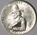 1921 Pilgrim Commemorative Half Dollar; Untoned White; Choice AU-Unc.