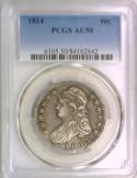 1814 Bust Half Dollar PCGS AU-50; Nice Old Type Coin!