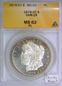 1878-CC Morgan Dollar ANACS MS-62 Prooflike; VAM-2A;