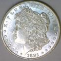 1881 Morgan Dollar; Untoned White BU