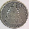 1856 Seated Liberty Half Dollar; G-VG