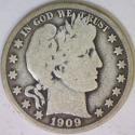 1909-O Barber Half Dollar; Nice Original; VG; Last of the O-Mints!