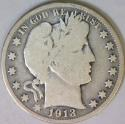 1913 Barber Half Dollar; VG; Scarce!