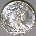 1942 Walking Liberty Half Dollar; Choice BU; Flashy White!