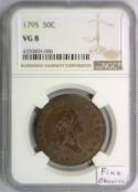 1795 Flowing Hair Bust Half Dollar NGC VG-8; Fine Obverse