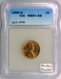 1960-D Lincoln Cent ICG MS-64 RB; Large Date, RPM;