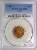 1909 Indian Head Cent PCGS MS-64 RB; Nearly Full Red!