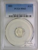 1852 Three Cent Silver PCGS MS-63; Frosty Luster!