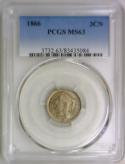 1866 Three Cent Nickel PCGS MS-63