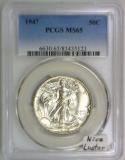 1947 Walking Liberty Half Dollar PCGS MS-65; Nice Luster!