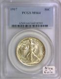 1917 Walking Liberty Half Dollar PCGS MS-64; Nice Coin!