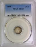1858 Three Cent Silver PCGS AU-55; Nice Album Tone!