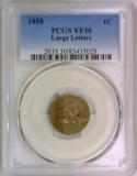 1858 Large Letters Flying Eagle Cent PCGS VF-30; Looks XF!