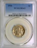 1916 Buffalo Nickel PCGS MS-63