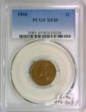 1866 Indian Head Cent PCGS XF-45; S-91, FS-303