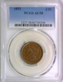 1853 Half Cent  PCGS AU-58; Nice Color And Surfaces!