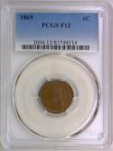 1869 Indian Head Cent PCGS F-12