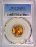 1917 Doubled Die Obverse Lincoln Cent PCGS MS-64 RD; Premium Quality, RARE!
