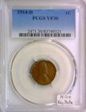1914-D Lincoln Wheat Cent PCGS VF-30; Nice Key Date!