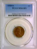 1920-S Lincoln Wheat Cent PCGS MS-61 BN