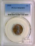 1915 Lincoln Cent PCGS MS-65 BN; Beautiful Color!