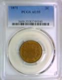 1871 Two Cent PCGS AU-55