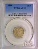 1888 Three Cent Nickel PCGS AU-53; Mintage 36,501