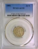 1881 Three Cent Nickel PCGS AU-55